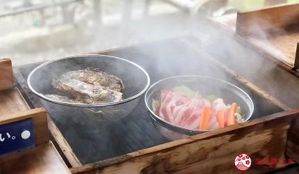 北海道鹿部間歇泉的溫泉蒸釜燒烤
