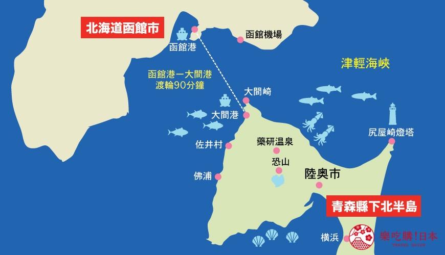 函館、青森下北半島景點地圖