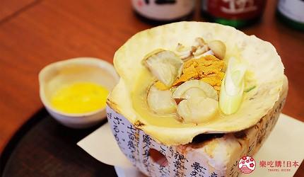 青森居酒屋推荐「酒肴旬 三石」的必点特色料理海胆帆立贝味噌烧(云丹入り贝焼き味噌)
