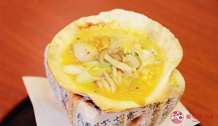 青森居酒屋推荐「酒肴旬 三石」的必点特色料理:加入蛋汁后的海胆帆立贝味噌烧(云丹入り贝焼き味噌)