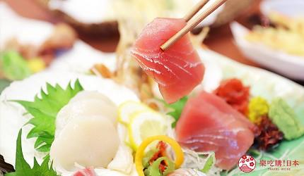 青森居酒屋推荐「酒肴旬 三石」的必点特色料理生鱼片组合2~3人份(刺身盛り合わせ2~3人前)的生鱼片