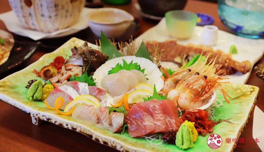 青森居酒屋推薦「酒肴旬 三石」的必點特色料理生魚片組合2~3人份(刺身盛り合わせ2~3人前)