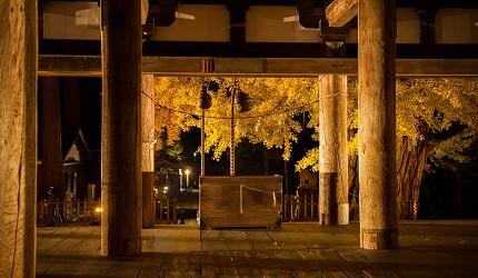 東北福島會津喜多方市新宮熊野神社內具建築特色的長床